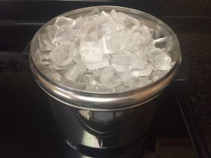 Add ice to the lid